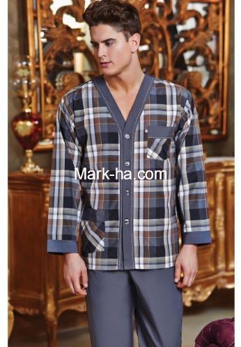 Batista 100 Ekose V Yaka Erkek Pijama Takım