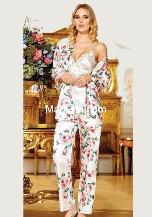 Jeremi 2917 Saten Desenli Üçlü Pijama Takım