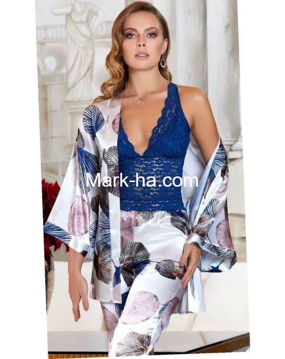 Jeremi Saten Üçlü Pijama Takım 3090