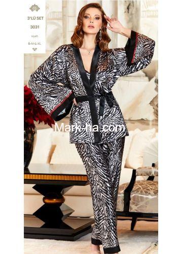 Jeremi Satin Üçlü Pijama Takım 3031