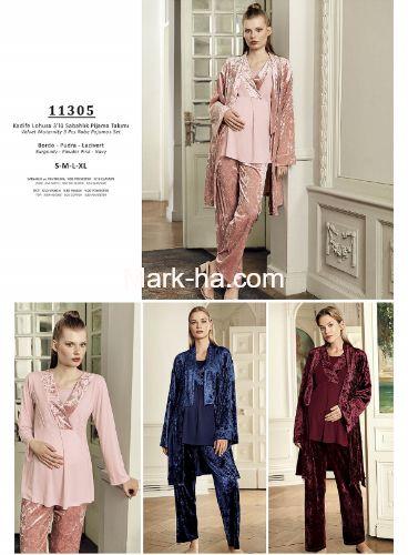 Artış Lohusa Üçlü Pijama Takım 11305